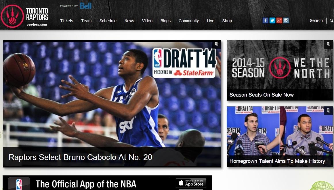 Capa do site do Toronto Raptors enfatiza a escolha do ala brasileiro (Reprodução Site)