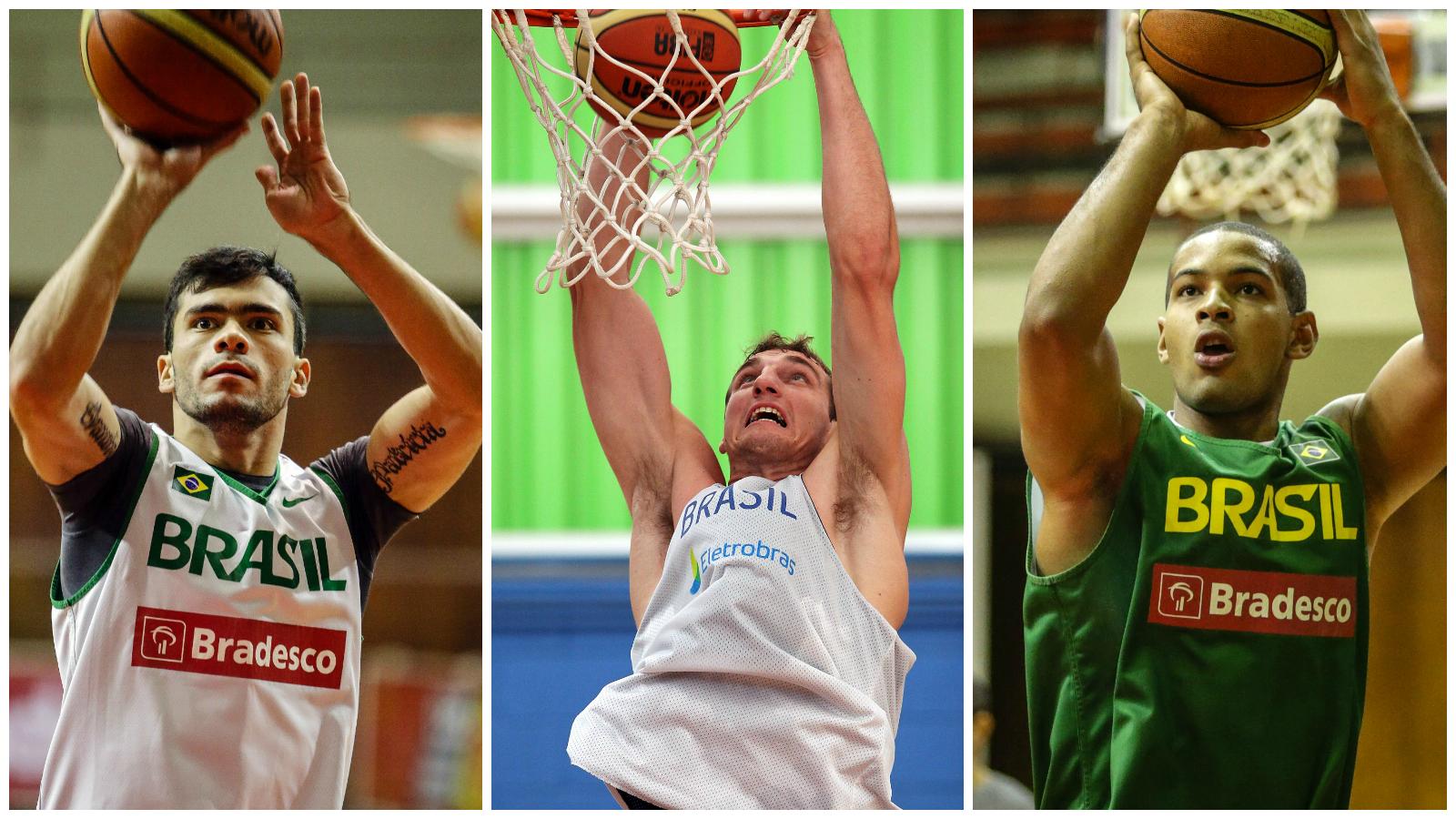 Deryk, Gemerson e Léo conviveram dez dias com os principais jogadores do basquete brasileiro (Arte/LNB)