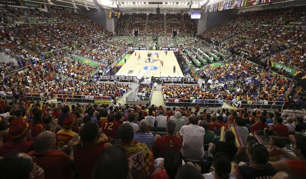 Público espanhol lotou completamente as dependências do ginásio para a partida desta segunda (FIBA/Divulgação)